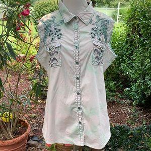 Roar sleeveless embellished tie dye shirt XL
